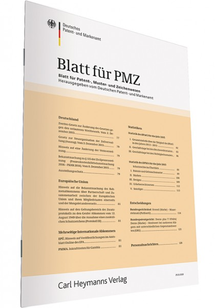 PMZ - Blatt für Patent-, Muster- und Zeichenwesen - Heft 4|2019