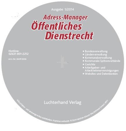Adress-Manager Öffentliches Dienstrecht 2015