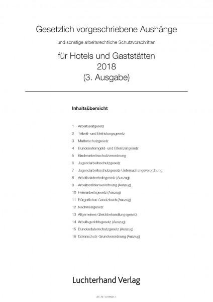 Gesetzlich vorgeschriebene Aushänge für Hotels und Gaststätten