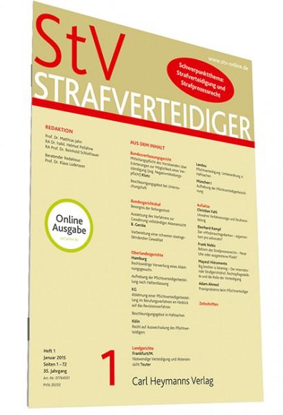 StV - Strafverteidiger (Zeitschrift) - Einbanddecke 2015