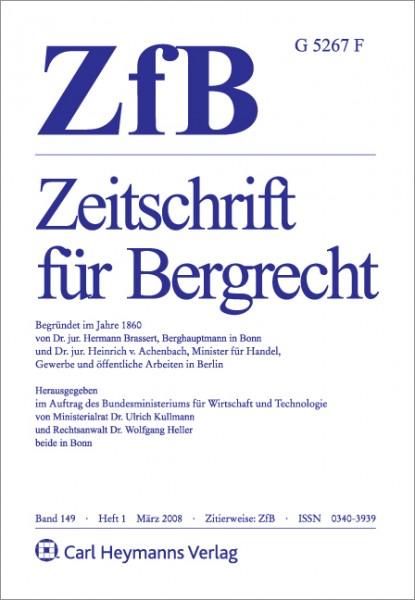ZfB - Zeitschrift für Bergrecht - Heft 4|2020