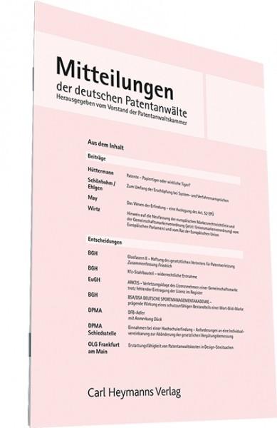 Mitteilungen der deutschen Patentanwälte 2018 Decke